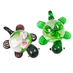 Innen Blume Lampwork Anhänger, Schildkröter, gemischte Farben, 31x41x17mm, Bohrung:ca. 7mm, 12PCs/Box, verkauft von Box