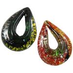 Mode Lampwork Anhänger, Tropfen, gemischte Farben, 40x53x14mm, Bohrung:ca. 24x10mm, 12PCs/Box, verkauft von Box