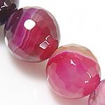 Natürliche Rosa Achat Perlen, rund, verschiedene Größen vorhanden & facettierte & Streifen, Bohrung:ca. 0.8-1mm, Länge:ca. 15.5 ZollInch, verkauft von Menge