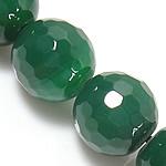 Natürliche grüne Achat Perlen, Grüner Achat, rund, facettierte, grün, 6mm, Bohrung:ca. 0.8-1mm, Länge:ca. 14 ZollInch, 5SträngeStrang/Menge, verkauft von Menge