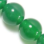 Natürliche grüne Achat Perlen, Grüner Achat, rund, verschiedene Größen vorhanden, Bohrung:ca. 1-1.2mm, Länge:ca. 15 ZollInch, verkauft von Menge