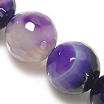 Natürliche violette Achat Perlen, Violetter Achat, rund, Streifen, 10mm, Bohrung:ca. 1.5-2mm, Länge:ca. 14.5 ZollInch, 5SträngeStrang/Menge, verkauft von Menge