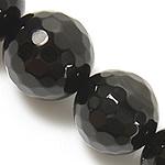 Natürliche schwarze Achat Perlen, Schwarzer Achat, rund, facettierte, schwarz, Grade A, 8mm, Bohrung:ca. 0.8-1mm, Länge:ca. 15 ZollInch, 5SträngeStrang/Menge, verkauft von Menge