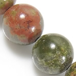 Unakit Perlen, Unakite, rund, natürlich, 10mm, Bohrung:ca. 1mm, Länge:ca. 15.5 ZollInch, 10SträngeStrang/Menge, ca. 39PCs/Strang, verkauft von Menge