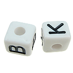 ABS-Kunststoff Alphabet Perlen, ABS Kunststoff, Würfel, gemischtes Muster, weiß, 10x10mm, Bohrung:ca. 4mm, 550PCs/Tasche, verkauft von Tasche