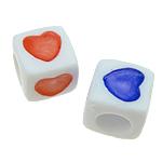 ABS-Kunststoff-Perlen, ABS Kunststoff, mit einem Muster von Herzen & gemischt, weiß, 7x7mm, Bohrung:ca. 4mm, 1700PCs/Tasche, verkauft von Tasche