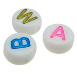 ABS-Kunststoff Alphabet Perlen, ABS Kunststoff, gemischt, weiß, 7x3.50mm, Bohrung:ca. 1mm, 3600PCs/Tasche, verkauft von Tasche