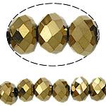 Rondell Kristallperlen, Kristall, AA grade crystal, metallische Farbe plattiert, 4x6mm, Bohrung:ca. 1mm, Länge:ca. 16 ZollInch, 10SträngeStrang/Tasche, verkauft von Tasche