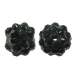Harz Strass Perlen, rund, schwarz, 12x14mm, Bohrung:ca. 2mm, 100PCs/Tasche, verkauft von Tasche