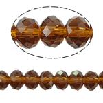 Rondell Kristallperlen, Kristall, AA grade crystal, Rauchtopas, 8x10mm, Bohrung:ca. 1.5mm, Länge:ca. 21 ZollInch, 10SträngeStrang/Tasche, verkauft von Tasche