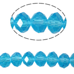 Rondell Kristallperlen, Kristall, AA grade crystal, Aquamarin, 6x8mm, Bohrung:ca. 1.5mm, Länge:ca. 16 ZollInch, 10SträngeStrang/Tasche, ca. 72PCs/Strang, verkauft von Tasche