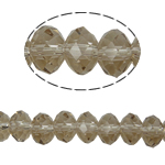 Rondell Kristallperlen, Kristall, AA grade crystal, hellgrau, 3x4mm, Bohrung:ca. 1mm, Länge:ca. 12 ZollInch, 10SträngeStrang/Tasche, ca. 150PCs/Strang, verkauft von Tasche
