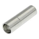 Messing Bajonettverschluss, Zylinder, Platinfarbe platiniert, frei von Nickel, Blei & Kadmium, 17x5mm, Bohrung:ca. 4mm, 100PCs/Tasche, verkauft von Tasche
