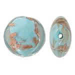 Goldsand Lampwork Perlen, flache Runde, blau, 20x10mm, Bohrung:ca. 1.5mm, 100PCs/Tasche, verkauft von Tasche