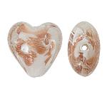 Goldsand Lampwork Perlen, Herz, weiß, 20x20x13mm, Bohrung:ca. 2mm, 100PCs/Tasche, verkauft von Tasche