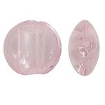 Silberfolie Lampwork Perlen, flache Runde, Rosa, 15x8mm, Bohrung:ca. 1.5mm, 100PCs/Tasche, verkauft von Tasche