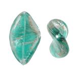 Goldsand Lampwork Perlen, Twist, blaugrün, 17x26x6mm, Bohrung:ca. 1.5mm, 100PCs/Tasche, verkauft von Tasche
