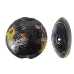 Goldsand Lampwork Perlen, flache Runde, schwarz, 20x10mm, Bohrung:ca. 2mm, 100PCs/Tasche, verkauft von Tasche