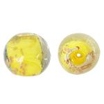 Goldsand Lampwork Perlen, rund, gelb, 15mm, Bohrung:ca. 1.5mm, 100PCs/Tasche, verkauft von Tasche