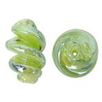 Handgewickelte Perlen, Lampwork, Spirale, grün, 15x29mm, Bohrung:ca. 2mm, 100PCs/Tasche, verkauft von Tasche