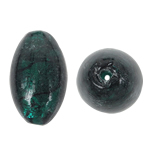 Silberfolie Lampwork Perlen, oval, grün, 18x29mm, Bohrung:ca. 2mm, 100PCs/Tasche, verkauft von Tasche