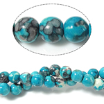 Regen Blumen Stein Perlen, rund, 4mm, Bohrung:ca. 0.8mm, Länge:ca. 15 ZollInch, 10SträngeStrang/Menge, ca. 90PCs/Strang, verkauft von Menge