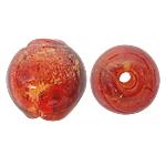 Silberfolie Lampwork Perlen, rund, rot, 12mm, Bohrung:ca. 1.5mm, 100PCs/Tasche, verkauft von Tasche