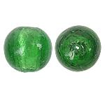 Silberfolie Lampwork Perlen, rund, grün, 18mm, Bohrung:ca. 2mm, 100PCs/Tasche, verkauft von Tasche