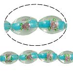 Silberfolie Lampwork Perlen, oval, blau, 10x15mm, Bohrung:ca. 2mm, 100PCs/Tasche, verkauft von Tasche