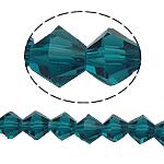 Doppelkegel Kristallperlen, Kristall, facettierte, pfauenblau, 6x6mm, Bohrung:ca. 1mm, Länge:10.5 ZollInch, 10SträngeStrang/Tasche, verkauft von Tasche