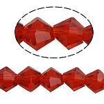 Doppelkegel Kristallperlen, Kristall, facettierte, Siam, 6x6mm, Bohrung:ca. 0.8-1.2mm, Länge:10.5 ZollInch, 10SträngeStrang/Tasche, verkauft von Tasche