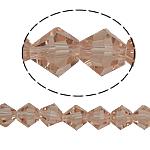 Doppelkegel Kristallperlen, Kristall, facettierte, Vintage Rose, 6x6mm, Bohrung:ca. 1mm, Länge:12.5 ZollInch, 10SträngeStrang/Tasche, verkauft von Tasche