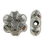 Verkupfertes Kunststoff-Perlen, Verkupferter Kunststoff, Blume, Platinfarbe platiniert, frei von Nickel, Blei & Kadmium, 10x3.50mm, Bohrung:ca. 0.5mm, 5Taschen/Menge, verkauft von Menge