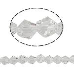 Doppelkegel Kristallperlen, Kristall, facettierte, Kristall, 5x5mm, Bohrung:ca. 0.5mm, Länge:11.5 ZollInch, 10SträngeStrang/Tasche, verkauft von Tasche