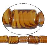 Innerer Twist Lampwork Perlen, Rechteck, 12x15x8mm, Bohrung:ca. 2mm, Länge:18.5 ZollInch, 5SträngeStrang/Tasche, verkauft von Tasche