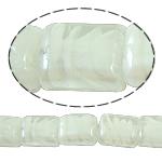 Innerer Twist Lampwork Perlen, Rechteck, weiß, 12x15x8mm, Bohrung:ca. 2mm, Länge:18.5 ZollInch, 5SträngeStrang/Tasche, verkauft von Tasche