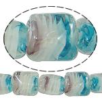 Innerer Twist Lampwork Perlen, Quadrat, 13x13x11mm, Bohrung:ca. 2mm, Länge:17 ZollInch, 5SträngeStrang/Tasche, verkauft von Tasche