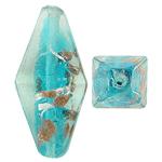Silberfolie Lampwork Perlen, Doppelkegel, Goldsand und Silberfolie, blau, 26x12mm, Bohrung:ca. 1.5mm, 100PCs/Tasche, verkauft von Tasche