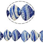 Handgewickelte Perlen, Lampwork, Schale, blau, 21x14x10mm, Bohrung:ca. 2mm, Länge:11.5 ZollInch, 5SträngeStrang/Tasche, verkauft von Tasche