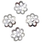 Eisen Perlenkappen, Blume, Platinfarbe platiniert, frei von Nickel, Blei & Kadmium, 6x1mm, Bohrung:ca. 0.5mm, ca. 10000PCs/Tasche, verkauft von Tasche