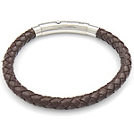 Cowhide Leather Bracelet, brown color, with stainless steel clasp, 6mm, 43x7.5mm, Sold per 7.5~9 inch- Strand
