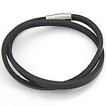 Rindsleder Armband, Kuhhaut, Edelstahl Verschluss, 2 strängig, schwarz, 4mm, 17x7mm, verkauft per 15.5 ZollInch Strang