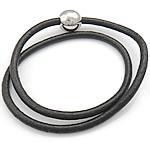 Rindsleder Armband, Kuhhaut, Edelstahl Magnetverschluss, 2 strängig, schwarz, 4mm, 13mm, verkauft per 16 ZollInch Strang