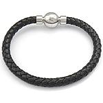 Rindsleder Armband, Kuhhaut, Edelstahl Magnetverschluss, schwarz, 6mm, 24x13mm, verkauft per ca. 8.5 ZollInch Strang