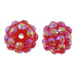 Harz Strass Perlen, rund, mit Strass, rot, 10x12mm, Bohrung:ca. 2mm, 100PCs/Tasche, verkauft von Tasche