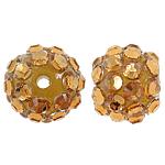 Harz Strass Perlen, rund, mit Strass, goldgelb, 12x14mm, Bohrung:ca. 3mm, 100PCs/Tasche, verkauft von Tasche