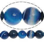 Natürliche blaue Achat Perlen, Streifen Achat, rund, blau, 10mm, Bohrung:ca. 1.2mm, Länge:ca. 15.5 ZollInch, 5SträngeStrang/Menge, ca. 39PCs/Strang, verkauft von Menge