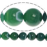Natürliche grüne Achat Perlen, Grüner Achat, rund, verschiedene Größen vorhanden & Streifen, Bohrung:ca. 1-1.2mm, verkauft per ca. 15.5 ZollInch Strang