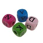Holz-Alphabet Perlen, Holz, Würfel, gemischte Farben, 10mm, Bohrung:ca. 3mm, 100PCs/Tasche, verkauft von Tasche