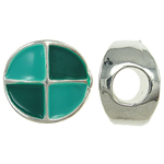 Zink Legierung Europa Perlen, Zinklegierung, flache Runde, ohne troll & Emaille, frei von Nickel, Blei & Kadmium, 12x12x8mm, Bohrung:ca. 5mm, 10PCs/Tasche, verkauft von Tasche